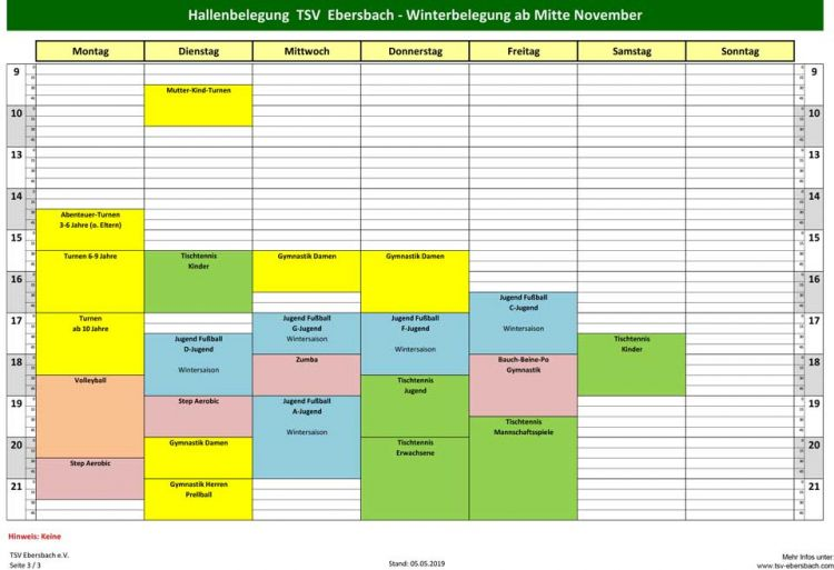 TSV | Hallenbelegung Winter